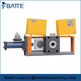 Single plate hydraulic screen changer with four working station